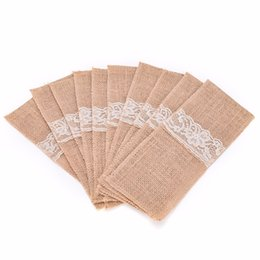 Wholesale Shabby Lace - Wholesale- 10pcs Burlap Cutlery Holder Vintage Shabby Chic Jute Lace Tableware Pouch Packaging Fork & Knife Pocket Home Decor