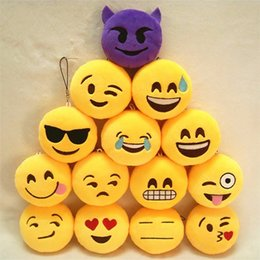 expressions games Coupons - Key Chains 8cm Emoji Smiley Small pendant Emotion Yellow QQ Expression Stuffed Plush doll toy Emoji Cell Straps Charms Bag Pendant gift