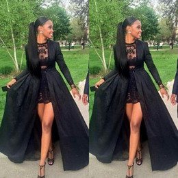 Wholesale Dress Winters - Black Long Sleeve Evening Dresses 2015 Fall Winter Short Lace Lining Formal Party Prom Gown Custom made