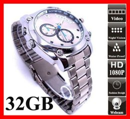 Wholesale 32gb Spy Watch Camera - NEW HD 1080P 8GB 16GB 32GB Waterproof Spy Watch Camera Night Vision Camera Video Recorder Hidden DVR Camcorder DV