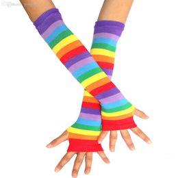 Wholesale Punk Gloves Men - Wholesale-Fashion Women Knitting Long Gloves Punk Gothic Dark Rock Rainbow Stripes Hand Arm Warmer Finger Gloves Long Half Finger Gloves