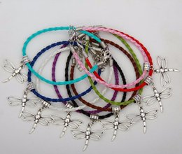 Wholesale Color Dragonfly Charms - Hot Sell 50pcs Vintage Silver Dragonfly Charm Pendants Mixed Color Braided Rope Bracelets Fashion Jewelry DIY For Women&Men S938