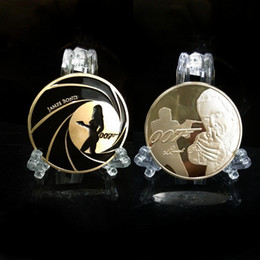 Wholesale Commemorative Coin Gift - 5pcs lot Free Shipping Happy Halloween Star James Bond 007 Novelty Commemorative Coins Boy Collectible Gift