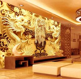 Wholesale Vinyl Dragon - 3D Golden Dragons Photo Wallpaper Woodcut Wall mural Chinese style wallpaper Art Room decor Kids Sofa background wall Restaurant Decoration