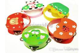 Wholesale Tambourine Pattern - Wholesale-New Colorful Wooden Cartoon Animals Pattern Handbell Tambourine Rattles Instrument for Kids Children