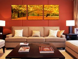 Wholesale Fashion Tree - Canvas painting Charming landscape Red tree painting Sunset 3 piece canvas wall art Home decoration Modern art