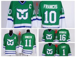 Wholesale Ron Francis Jersey - Hartford Whalers Hockey Jersey 10 Ron Francis 11 Kevin Dineen 1 Mike Liut 16 Patrick Verbeek CCM Vintage Throwback Green Jerseys