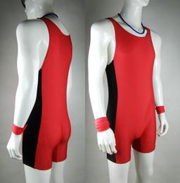 Wholesale Mens Leotards - Wholesale-Tight Mens Red Leotards&Unitards Swim Suit Mens One piece Swimwear Uniform Athlete Outfit Wrestling singlet