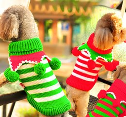 Wholesale Summer Wedding Dresses Colors - Pet Dog Clothes Colorful Christmas Sweater Dress Winter Warm Clothes For Pet Dog Three Colors As Red Green Dog-sweater-clothes