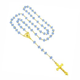 Wholesale Catholic Virgin Mary - Wholesale- NEW Catholic Religious Women Christian Virgin Mary Rosary Necklace Jewelry Light Blue Crystal Prayer Beads