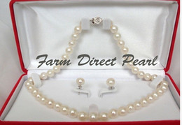 """Wholesale 14k Yellow Gold Chain 18 - Fine Pearls Jewelry stunning Free Shipping 18"""" SET AAAA+ 9-9.5mm White Pearl Necklace Silver Clasp"""