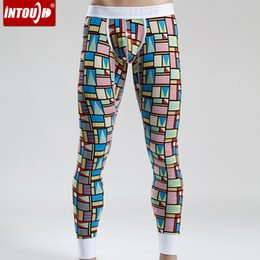 Wholesale Leggings Fashion Trend - Wholesale-New winter fashion cotton lycra men underwear autumn home pants personalized pattern trend leggings warm long johns