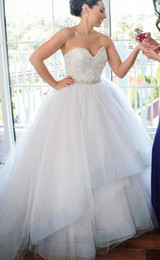 Wholesale Beaded Ballgown Wedding Gowns - 2014 Modern Sweetheart Corset Princess Bridal Ball Gown Brooch Beaded Tulle Skirt Cathedral Church Ballgown Fall Wedding Dresses