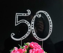 "Wholesale Numbers Decorations Cake - 1pcs Large Diamante Rhinestone Letter ""50"" Cake Toppers For Wedding Birthday Party Decoration Customized Number Available"