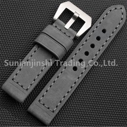 Wholesale Strap For Panerai - Handmade 20 22 24 26 mm Grey Vintage Men Leather Watchband Strap+Stainless Buckle Replacement Watch Bracelet For Panerai Free Shipping-124