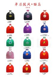 Wholesale Cape Styles - 15 styles Mono-layer Super hero Capes and mask set Superhero cosplay capes+mask 2pcs set Halloween cape mask for Kids 70*70CM DHL shipping