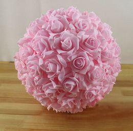 Wholesale Hanging Foam Balls - Wholesale-Free EMS Shipping 8pcs 11'' 28cm Artificial Foam Rose Hanging Flower Balls Wedding Decoration Rose Balls
