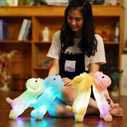 Wholesale white dog stuffed animal wholesale - 35cm Plush Dog Led Glow Light Night Stuffed Animals Lovely Creative Cute Soft Doll Puppy Dogs OOA3646