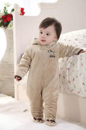 Wholesale Babys Clothes Free Shipping - Wholesale-Free shipping babys clothing winter jumpsuits warm cotton padded outdoor rompers A1066