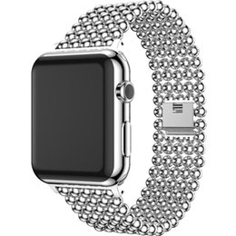 Wholesale Fashionable Belts - New fashionable Luxury Stainless Steel Band for Apple Watch 42mm 38mm Strap Gold Beads Watchband for Iwatch Series 1 2 3 Band Bracelet Belt