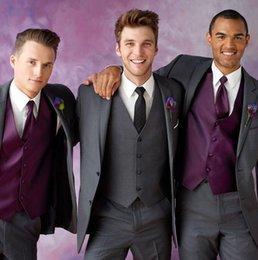 Wholesale Ceremony Suits Men - 2015 Grey Slim Fit Ceremony Suit Wedding suit for men Groom Tuxedos groomsman Bridegroom Suit Jacket+Pants+Tie+Vest men's suits