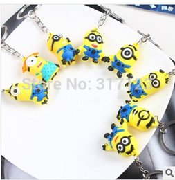 Wholesale Despicable Minion Stuart - (50 pieces lot )Wholesale 8 designs Despicable me Key Chains ring Stuart Jorge Steve Minions Metal Key Ring Party gifts