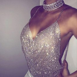 Wholesale Low Cut V Neck Tank - Sexy Halter Shining Diamonds Party Bralette V Neck Low Cut Crop Top Backless Camisole Hollow Out Camis Short Tank Gold Silver