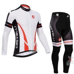 Wholesale Uv Bike Wear - 2015 Professional CastelliLong Sleeeve Cycling Jersey Roupa Ciclismo Bike Wear+Mans bib Pants Breathable Bicycle Clothing(fleece)