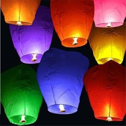 Wholesale Sky Balloon Free Shipping - Diy 500Pcs Chineses Sky Paper Lanterns Lamps Flying Wishing Lantern Decor For Outdoor Party Decoration Balloon UFO Free Shipping