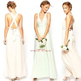 Wholesale Sex Long Gown - Spaghetti Straps Sex V Neck Bridesmaid Dresses Cirss Cross Back With Belly Women Summer Prom Party Formal Evening Gowns BO8244