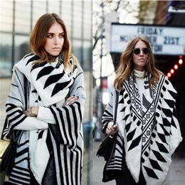 Wholesale White Cotton Square Scarf - Z geometric black and white color printing female cashmere shawl scarves large square 140 * 140 cm