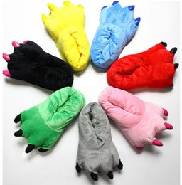 Wholesale Black Claw Slippers - Wholesale-Claw Paw Slippers The dinosaur Winter Slipper Xmas Halloween Cos play Costume Gift