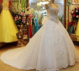 Wholesale wedding dresses small sleeves - Strapless Lace Sequins Crystal Stones Major Beading Lace Up Luxury Wedding Dresses Small Tail Custom Made