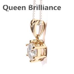 Wholesale lab diamond pendant - Queen Brilliance Solid 18K 750 Yellow Gold 1 ctw F Color Lab Grown Moissanite Diamond Pendant Necklace Free Shipping q171026