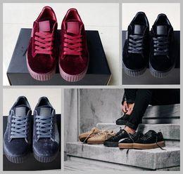 Wholesale Men Fashion Shoe Suede - Velvet Rihanna x Suede Creepers 2017 new Rihannas Creeper Grey Red Black Women Men Fashion cheap Casual Shoes Basketball sneakers