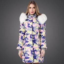 Wholesale Down Coat Racoon Fur Collar - Wholesale-Snowka Thick Winter Coat Women 2015 Camouflage Large Racoon Fur Collar Hooded Print Zipper Outwear Long Down Jacket Women Parka