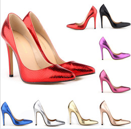 Wholesale Purple Vintage High Heel Shoes - 2014 Plue Size35-42 10 Neon Yellow Thin Heel Pointed Loyal Blue Women's Pumps High Heels Red Bottom Vintage Sexy Women shoes