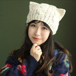 Wholesale Crochet Trapper Hat - Wholesale-1 Pcs Lady Women Cute Cat Ear Winter Beanie Crochet Knit Wool Hat Cap 5 Colours