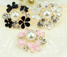 Wholesale metal craft buttons - 20pcs 25mm Alloy Rhinestone Pearl Flower Beads Button For Scrapbooking Craft DIY Hair Clip Fashion Accessories