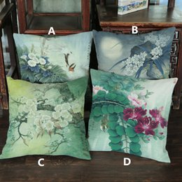 Wholesale Chinese Ink Paintings Lotus - Linen velvet Ink painting Lotus flower plum blossom Ancient Chinese pattern printed pillow Sofa decorative home cushion cover 45*45cm #43
