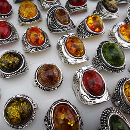 Wholesale Antique Silver Rings - Charms 5pcs Mix large Vintage Amber Antique Silver Retro Womens Mens Rings Wholesale Jewelry Lots Free Shipping A-914