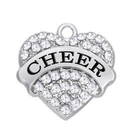 Wholesale Cheer Necklaces - (H108064)New Simple Letter Cheer Zinc Alloy 100pcs lot Plated Colorful Heart Crystal Charms For Bracelets Or Necklaces