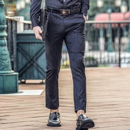 Wholesale Slimming Bomb - Wholesale- Fanzhuan Free Shippingnew Male fashion man's casual 2017 Slim 4 seasons waist slightly bombs ninth pants striped 718012 trousers