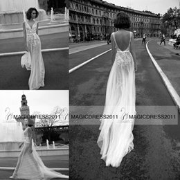 Wholesale Vintage Chic Wedding Dresses - Sexy-Chic Sheath Wedding Dresses Beach Backless Bridal Gowns Liz Martinez Bridal 2015 V-Neck Appliques Long Vintage Wedding Gown Custom made