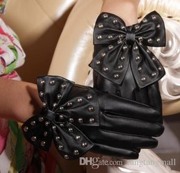 Wholesale Wholesale Leather Opera Gloves - 2015 New Arrival Winter Motorcycle Lady Rivets Butterfly Bow Soft PU Leather Gloves For Women Black Red Free Size Cai0231 A5