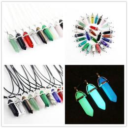 Wholesale Gems For Necklaces - New Luminous Bullet Shape Natural Stone Necklaces & Pendants Hexagonal Prism Quartz Turquoise Crystal Gems Necklaces Jewelry For Women Men