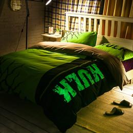 Wholesale 3d Adult Cartoons - 3D Bedding Noctilucent Bedding Set Queen Size 200TC Cotton 6 Feet Duvet Cover Set Flat Sheet Pillow Case The Hulk Avengers Iron Man