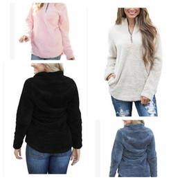 Wholesale Girls 3t Sweatshirts - Women Sherpa Jacket Hooded Coat Warm Outwear Women's Clothing Half Zipper Pullover Sweatshirt Hip Hop Streetwear LJJK831