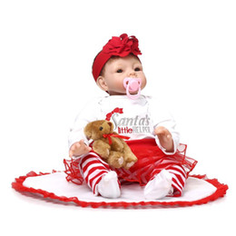 Wholesale Reborn Baby Dolls Boys - Wholesale- Reborn Baby Doll Soft Silicone 22inch 55cm Magnetic Mouth Lovely Lifelike Cute Boy Girl Toy Red Santa