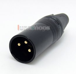 Wholesale Xlr Connector Gold - Black 3pins XLR Male Plug Microphone Connector Adapter For DIY Earphone cable